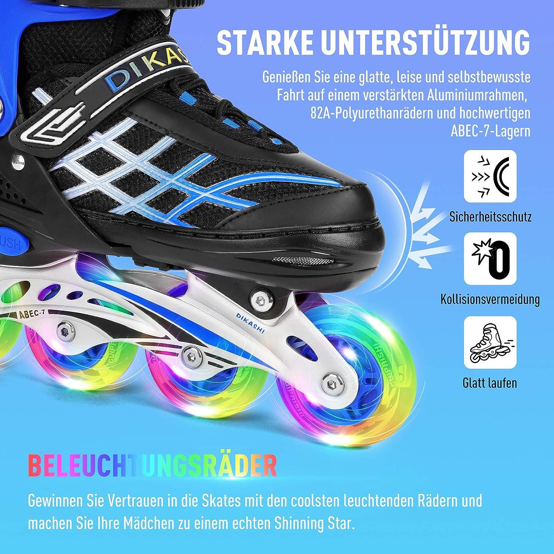 Inlinerskates Einstellbare Rollschuhe Kinder Inliner Skate Mit Leucht PU Räder A