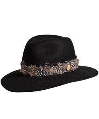 3d7b9172a Holland Cooper Women's Grayson Trilby Hat with Feather Band Black at ...