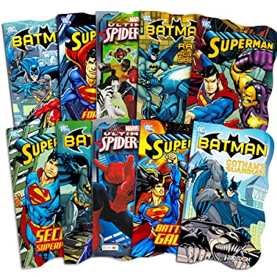 Superhero Board Books Ultimate Set Toddlers Kids -- 10 Shaped Board Books Featuring Batman, Superman, Spiderman and More : Baby