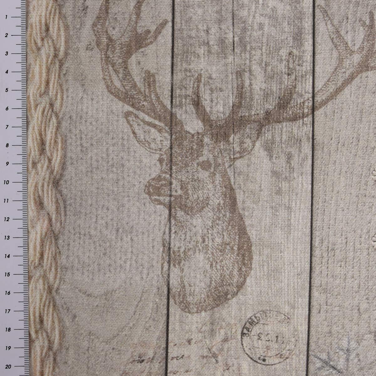 SCH/ÖNER LEBEN Tischl/äufer Holz Latten Hirschkopf Natur braun 40x160cm