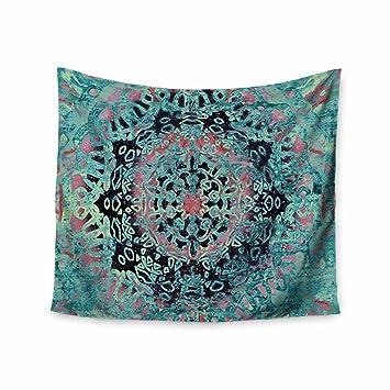 Kess InHouse Nina May Aqua Ikat Batik Mandala Teal Blue Mixed Media Round Beach Towel Blanket