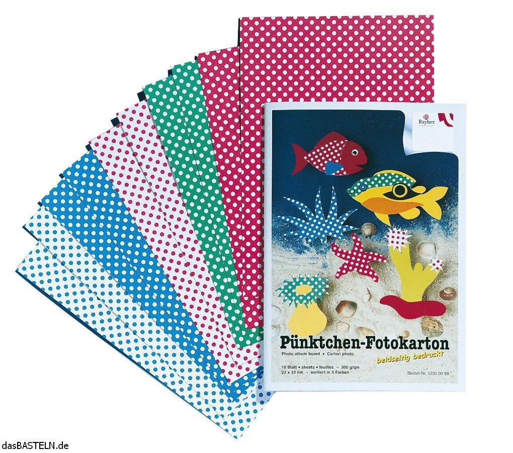 a pois grammatura 300 g//m/² scrapbooking 23 x 33 cm. carta per fai da te Rayher 8112000 set 10 cartoncini fantasia 5 colori assortiti