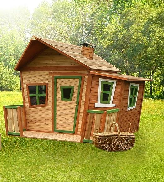 Casa de juguete con terraza Valla Madera Parte cabaña para niños Jardín Cedro, certificado TÜV): Amazon.es: Jardín