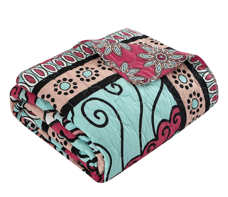 King Aqua QS4357-AN Chic Home Collin 4 Piece Reversible Quilt Cover Set 100/% Cotton Bohemian Pattern Print