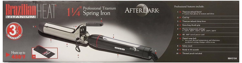 Brazilian Heat BBH3104 Brazilian Heat After Dark Titanium Keratin-Safe Spring Curling Iron, 1.25 Inch