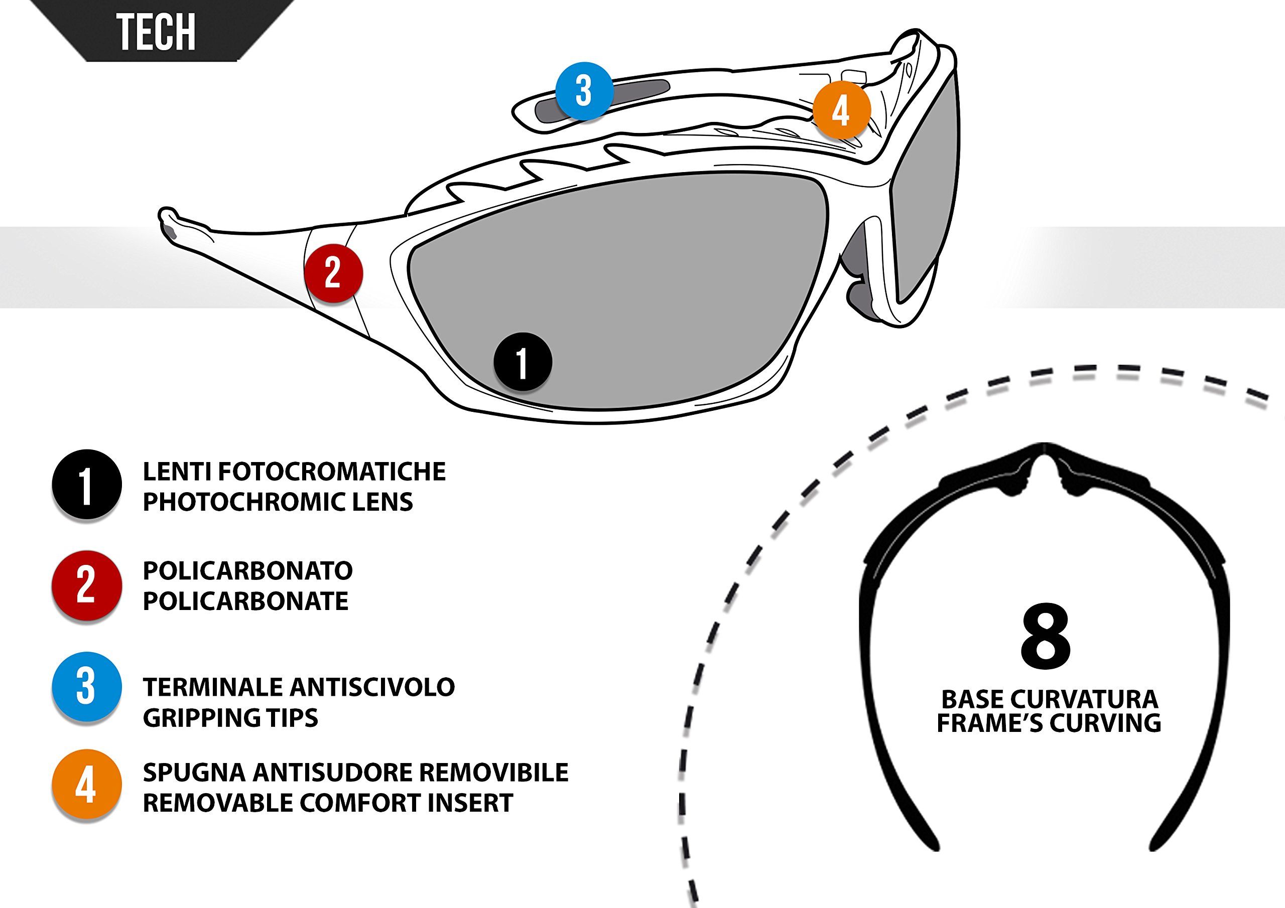 Bertoni Motorcycle Goggles Padded Sunglasses - Photochromic Antifog Lens - Removable Clip for Prescription Lenses - Interchangeable Arms and Strap - by Bertoni Italy F366A Motorbike Bikers Glasses by Bertoni (Image #4)