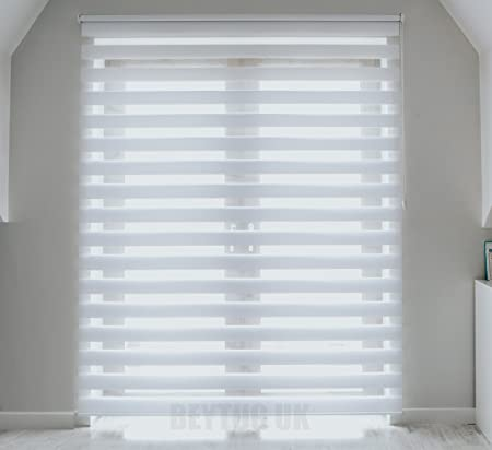 Perfect Quality White Zebra/Vision Window Roller Blind, Choice Of 16 Width Sizes,  115cm