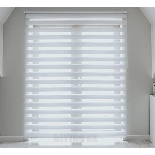 Quality White Zebra/Vision Window Roller Blind, Choice Of 16 Width Sizes,  75cm