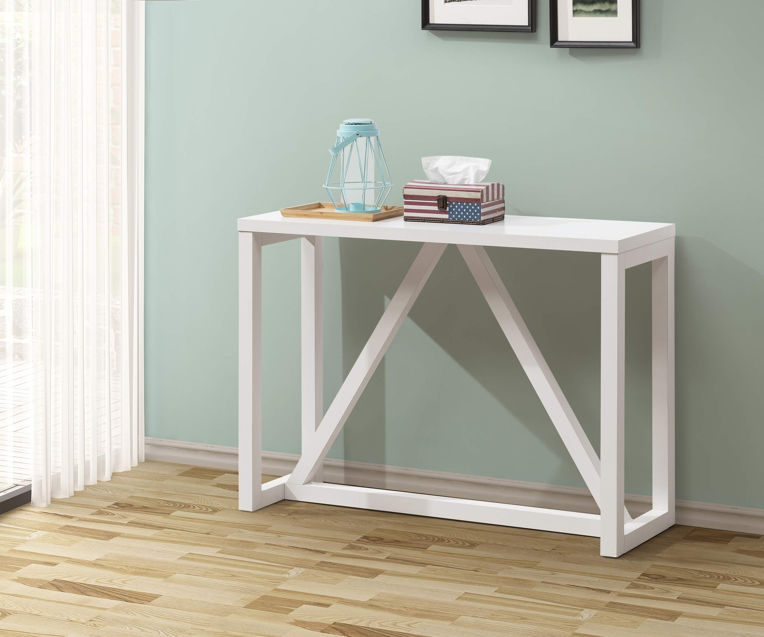 White Finish Accent Entryway Console Sofa Table by Unknown
