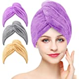 3 Pack Microfiber Hair Towel Wrap BEoffer Super Absorbent Twist Turban Fast Drying Hair Caps with Buttons Bath Loop Fasten Sa