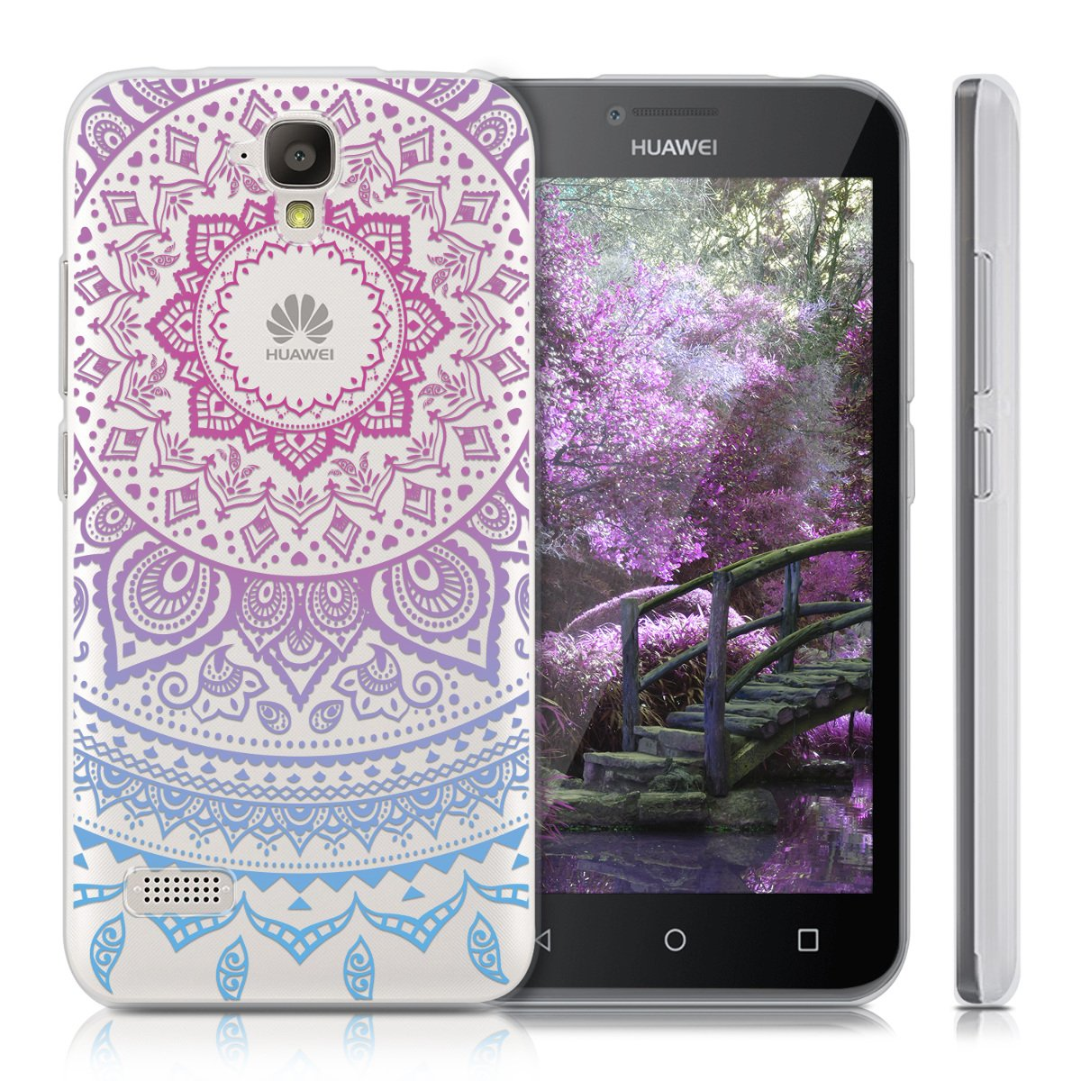 kwmobile TPU Silicone Case for Huawei Y5 - Crystal Clear Smartphone Back Case Protective Cover - Blue/Dark Pink/Transparent