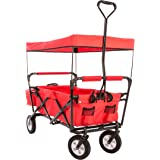 Ultrasport chariot pliable / charriot / charriot de pique-nique, avec housse de transport et toit, supportant une charge maximale de 55kg, rouge