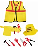 Construction Worker Kids Dress-Up Costume Role Play Set with Tools (8 Pcs)