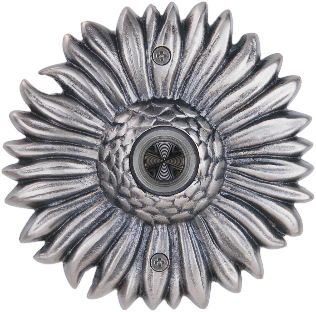 Waterwood Solid Brass Sunflower Doorbell in Pewter