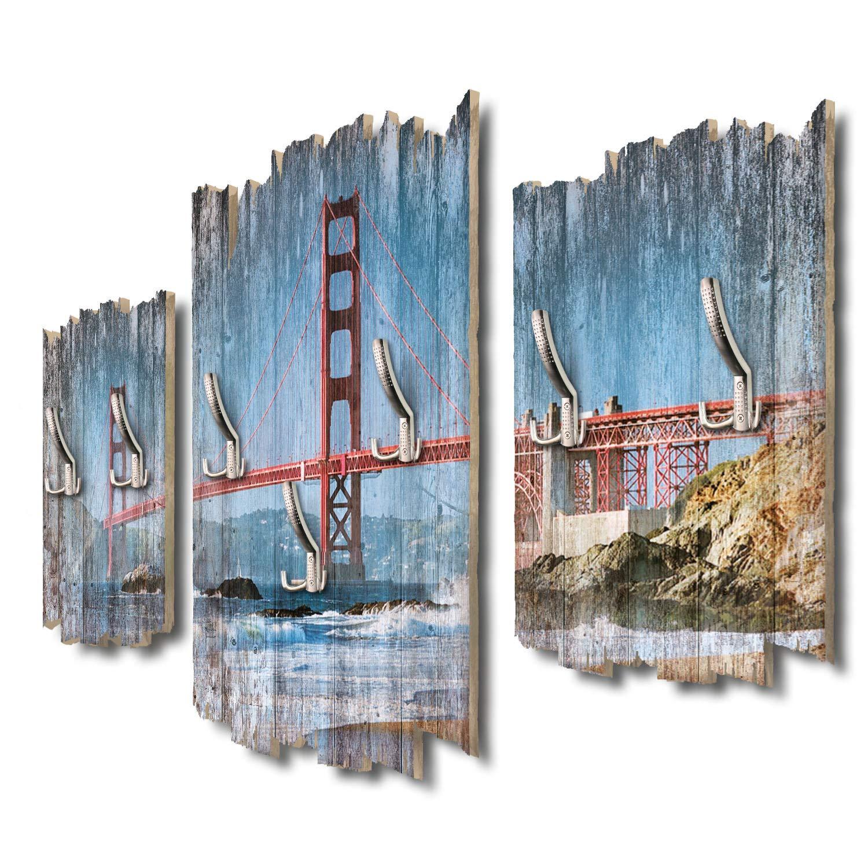 Kreative Feder Golden Gate Bridge Designer Wandgarderobe Flurgarderobe Wandpaneele 95 x 60 cm aus MDF DTGH058