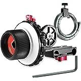 Neewer A-Bストップフォローフォーカス ギアリングベルト付き Canon Nikon Sony DSLRカメラDVビデオカメラなどに対応 15mmのロッドフィルム制作システム、ショルダーサポート、スタビライザー、ムービーリグに使える(赤と黒)