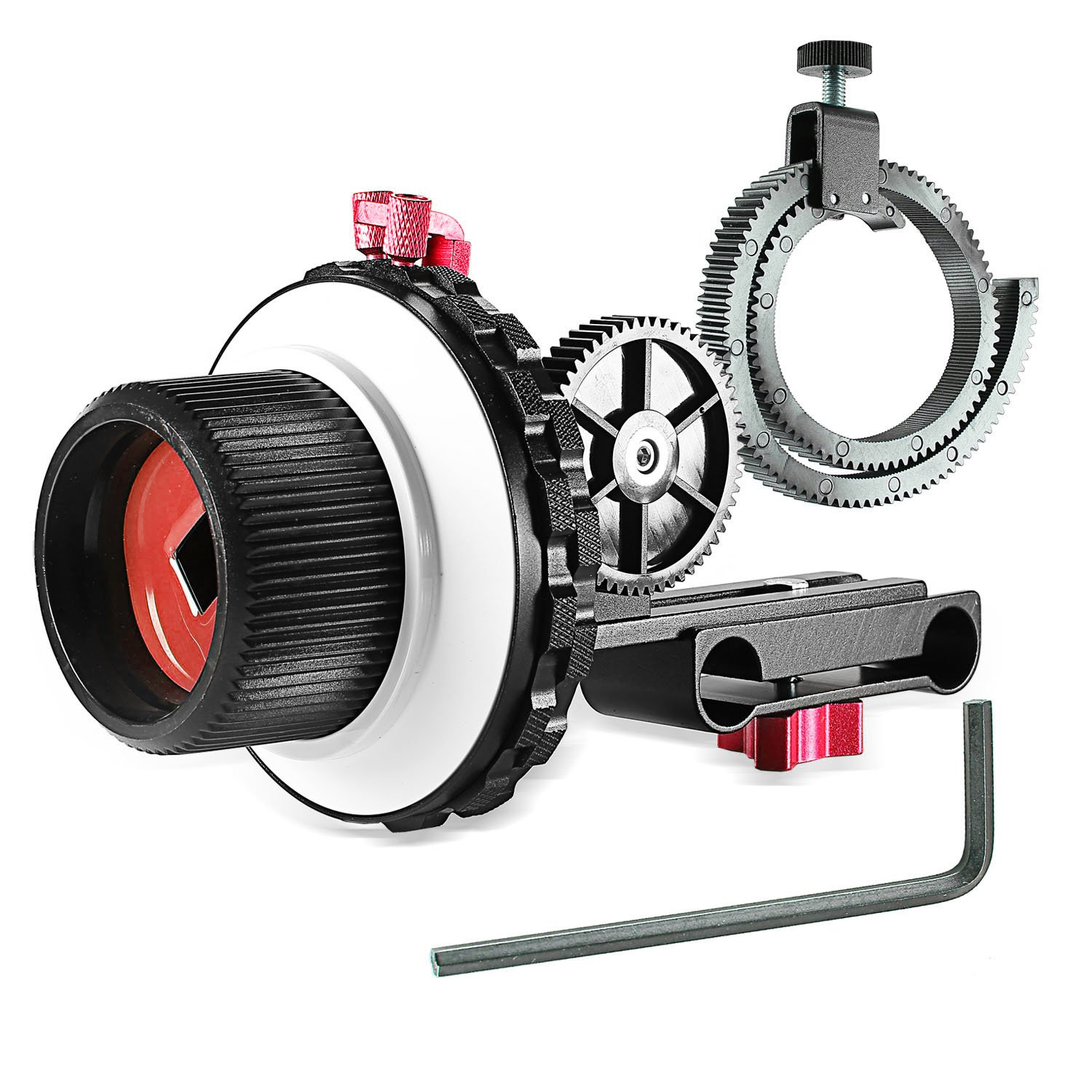 Neewer A-B Stop Follow Focus with Gear Ring Belt for Canon Nikon Sony DSLR Camera DV Video Camcorder and More, Fits 15mm Rod Film Making System, Shoulder Support, Stabilizer, Movie Rig (Red and Black) 10090238
