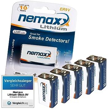 Nemaxx litio 9 V pila para detector de 10 años de vida útil