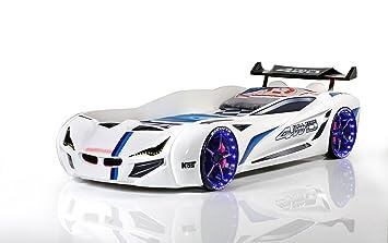 Carbed shop Cama de Coche - Flash GT Turbo Supercar Racer 91,44 cm Cama - Luces LED + Sonido - Blanco - para niños Camas: Amazon.es: Hogar