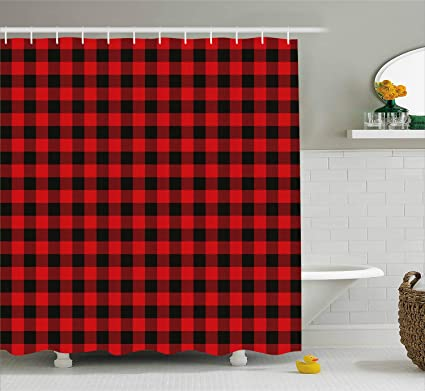 Ambesonne Plaid Shower Curtain Lumberjack Fashion Buffalo Style Checks Pattern Retro With Grid Composition