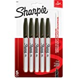 Sharpie Permanent Marker, Fine Point, Black, Pack of 5