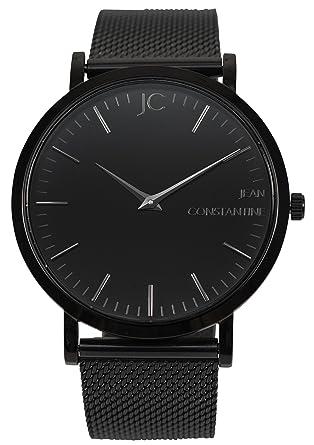 """Jean Constantine – """"Raven cuarzo reloj de pulsera con cristal de zafiro Unisex"""