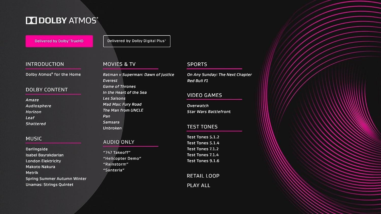 Dolby Atmos Blu-ray Disc de démonstration (DE 09/2016) cinéma Test