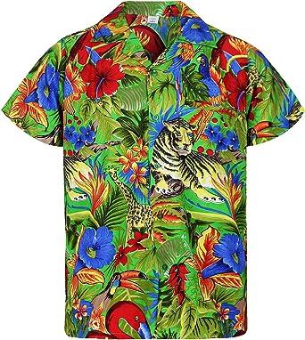 Original King Kameha | Funky Camisa Hawaiana Señores | XS-12XL | Manga Corta Bolsillo Delantero | Impresión de Hawaii | Jungle: Amazon.es: Ropa y accesorios