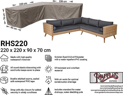 Raffles Covers NW-RHS220 - Funda para sofá de Esquina (220 x 220 x 90 cm, 70 cm), Color Negro: Amazon.es: Jardín