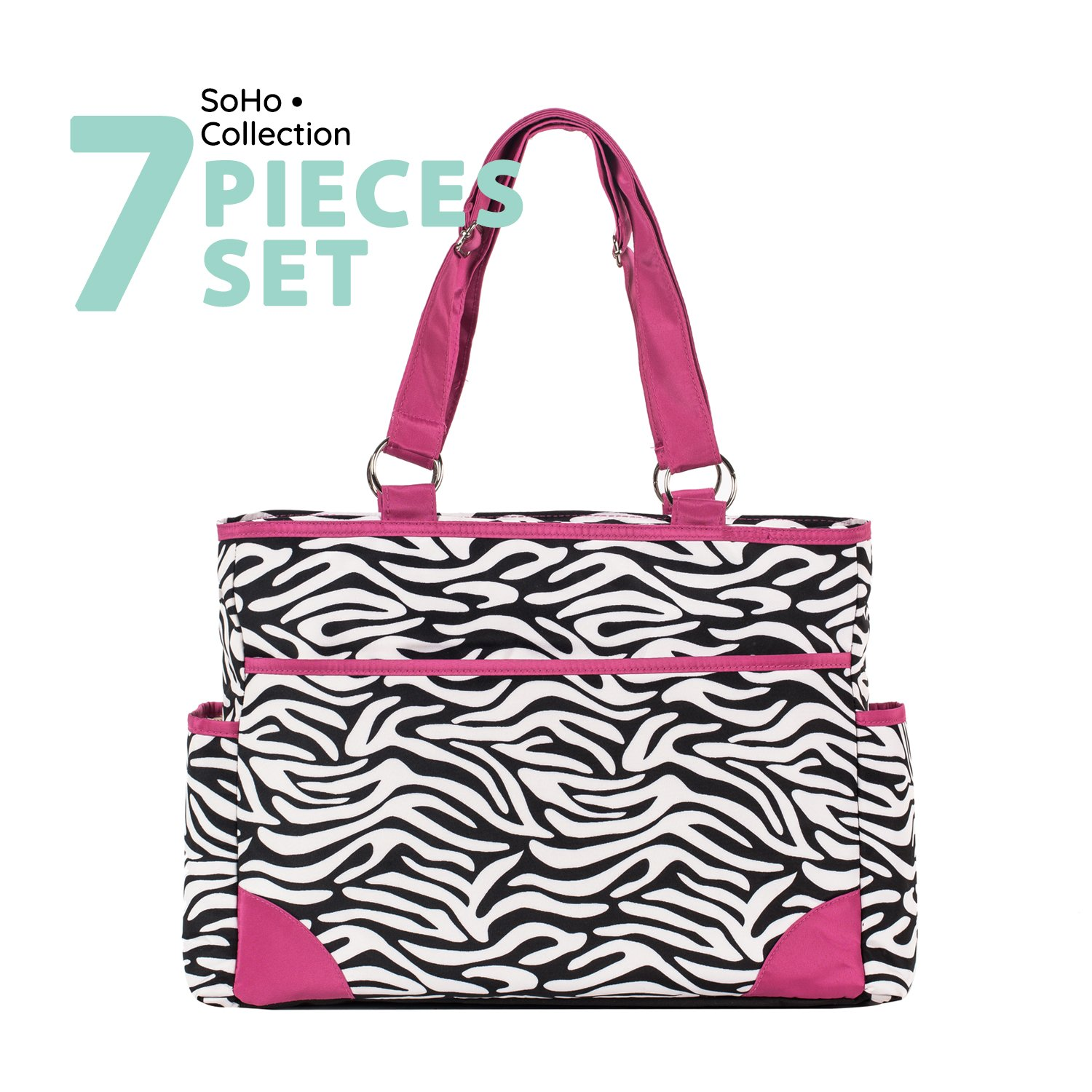 SoHo diaper bag Pink zebra 6 pieces set nappy tote bag large capacity for baby mom dad stylish insulated unisex multifuncation waterproof includes changing pad stroller straps Limited time offer