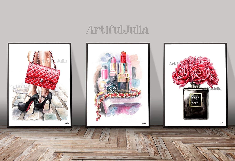b96950c01f8c Amazon.com  Red Chanel art print of watercolor painting