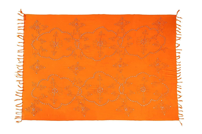 Ciffre Premium Sarong Pareo Wickelrock Strandtuch Lunghi Dhoti Schlicht Blickdicht Tolle Stickerei Einfarbig Pailletten Orange