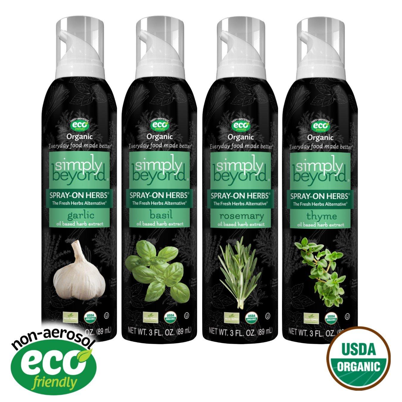 Simply Beyond, Organic Spray-On Herbs 4-Pack (Garlic, Basil, Thyme, Rosemary), 3 Fl. Oz