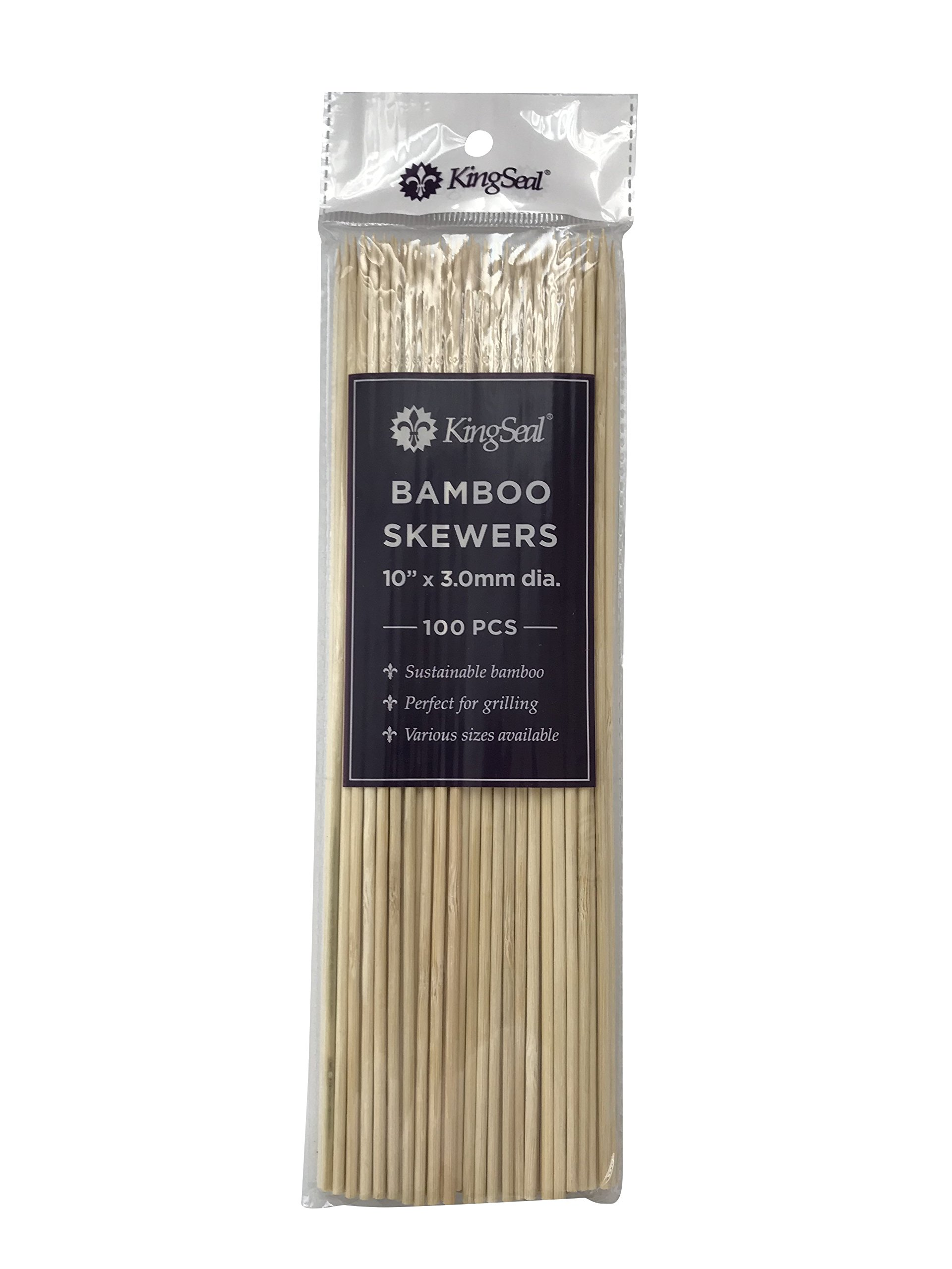 KingSeal Natural Bamboo Wood Skewers - 10 Inch Length, Master Case of 12/16/100 (19,200 pcs total)
