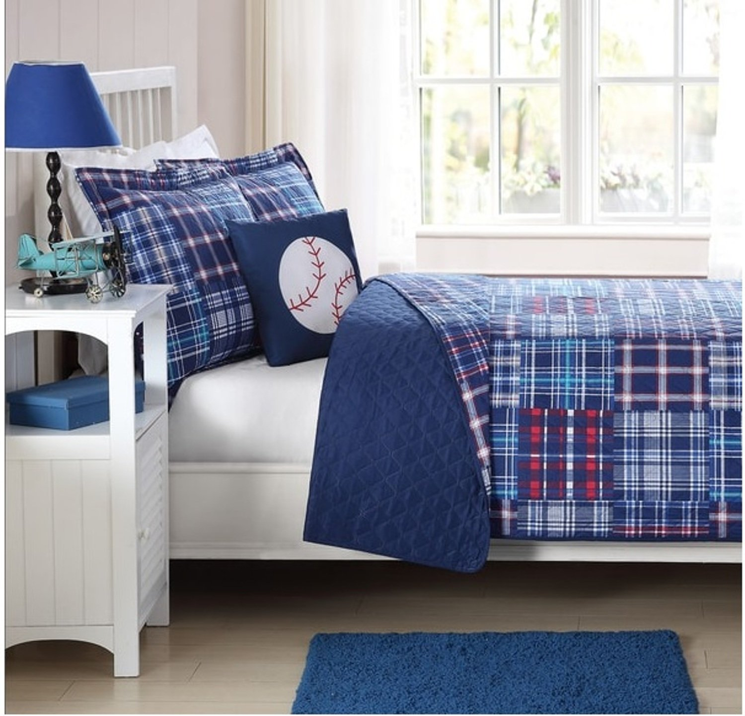 4 Piece Plaid Patchwork Printed Pattern Quilt Set Full Size, Featuring Baseball Game Sports Inspired Design Comfortable Bedding, Classic Stylish Playful Boys Kids Bedroom Decoration, Blue, Red, Multi