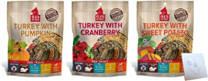 Plato Grain Free Dog Treats Variety Pack - 3 Healthy Flavors: Turkey & Cranberry, Turkey & Sweet Potato, and Turkey & Pumpkin Plus Pet Paws Notepad