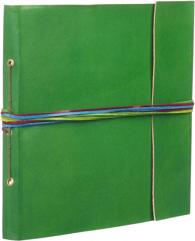 Álbum fotográfico de cuero, con 3 tiras, grande, color verde, de 260 x 240 mm