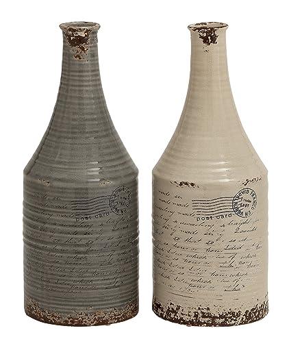 Plutus Brands Ceramic Bottle Vase with Elegant Design