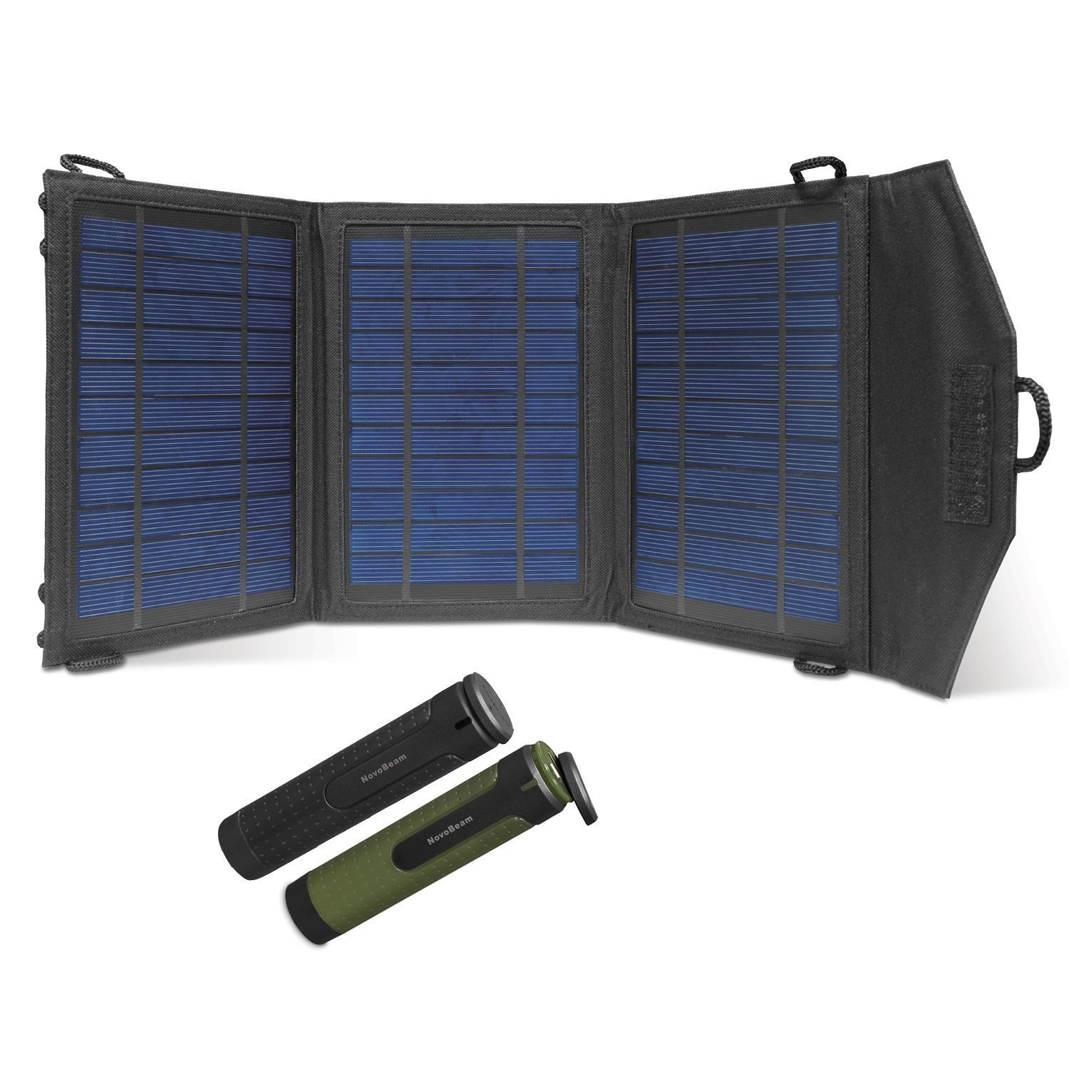 Instapark 10 Watts Solar Panel Portable Solar Charger with Dual USB Ports for iPhone, iPad & all other USB Compatible Devices, Two 3000 mAh Novobeam Battery Packs Included …