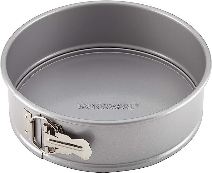 Farberware 52108 Nonstick Bakeware Springform Baking Pan / Nonstick Springform Cake Pan / Nonstick Cheesecake Pan, Round - 9 Inch, Gray