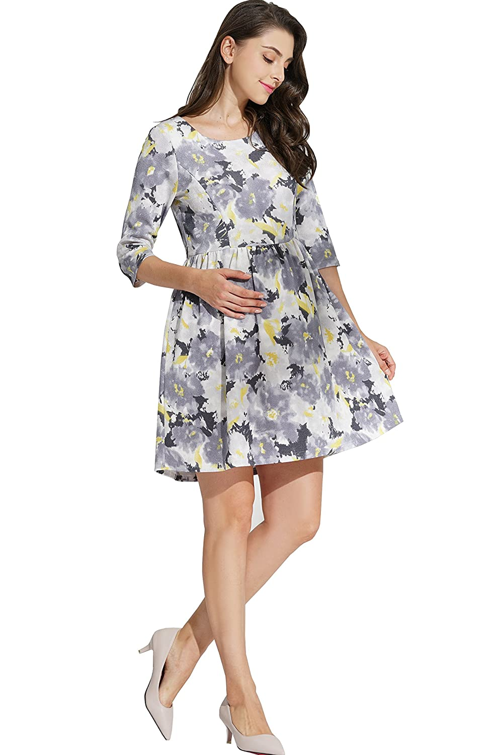 Sweet Mommy Maternity and Nursing Floral Print Baby Shower Party Dress co7090
