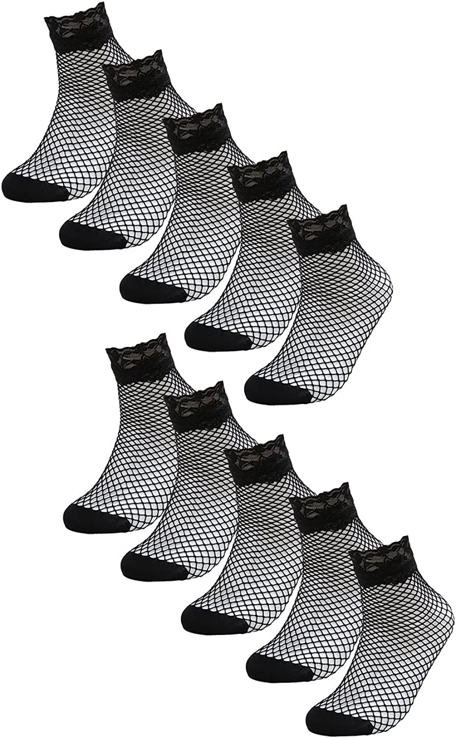 uxcell Women 10 Pairs Stylish Black Lace Fishnet Sheer Ankle Socks Tights