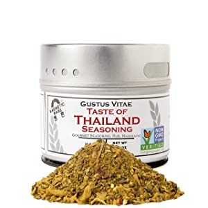 Taste of Thailand Seasoning | Non GMO Verified | Magnetic Tin | Spice Blend | 1.4oz | Crafted in Small Batches by Gustus Vitae | #28