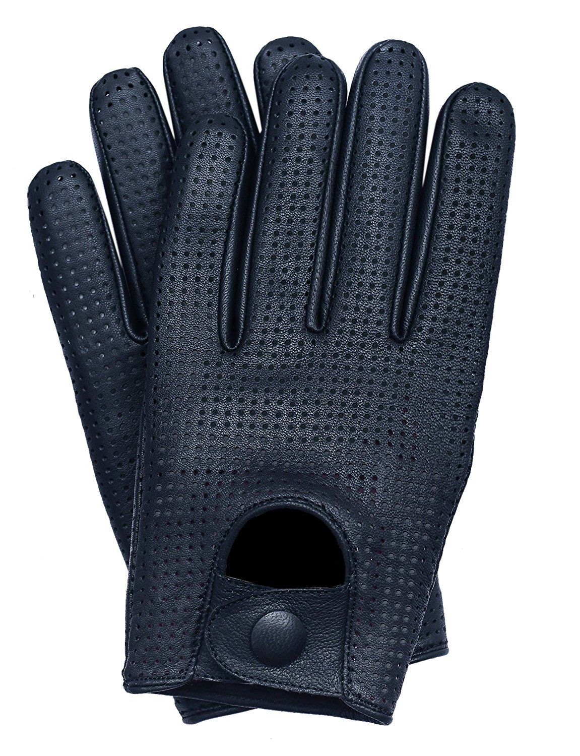 Riparo Men's Touchscreen Texting Mesh Perforated Summer Driving Motorcycle Leather Gloves (Medium, Black)