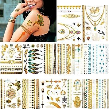 12 Hojas 195 Piezas Tatuajes Temporales Metálicos Tatuajes ...
