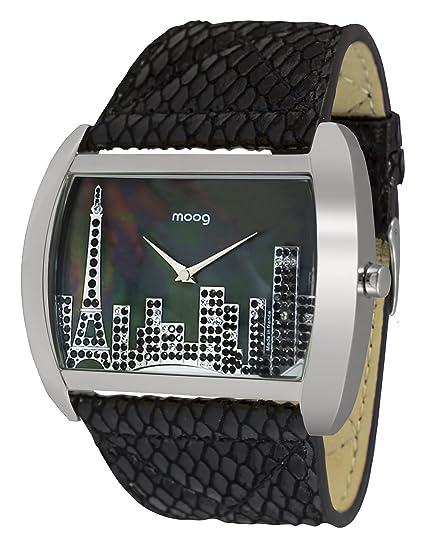 Moog Paris Skyline Reloj para Mujer con Esfera Nácar Negra, Correa Negra de Piel Genuina y Cristales Swarovski - M41882-205: Amazon.es: Relojes
