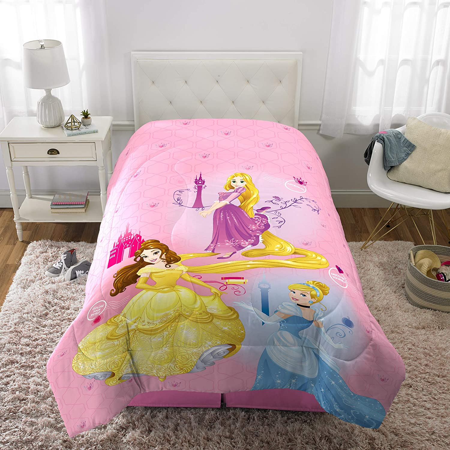 "Franco Kids Bedding Super Soft Microfiber Reversible Comforter, Twin/Full Size 72"" x 86"", Disney Princess"