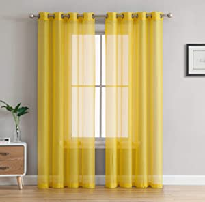 "HLC.ME 2 Piece Sheer Voile Window Curtain Grommet Panels for Bedroom & Living Room (54"" W x 84"" L, Bright Yellow)"