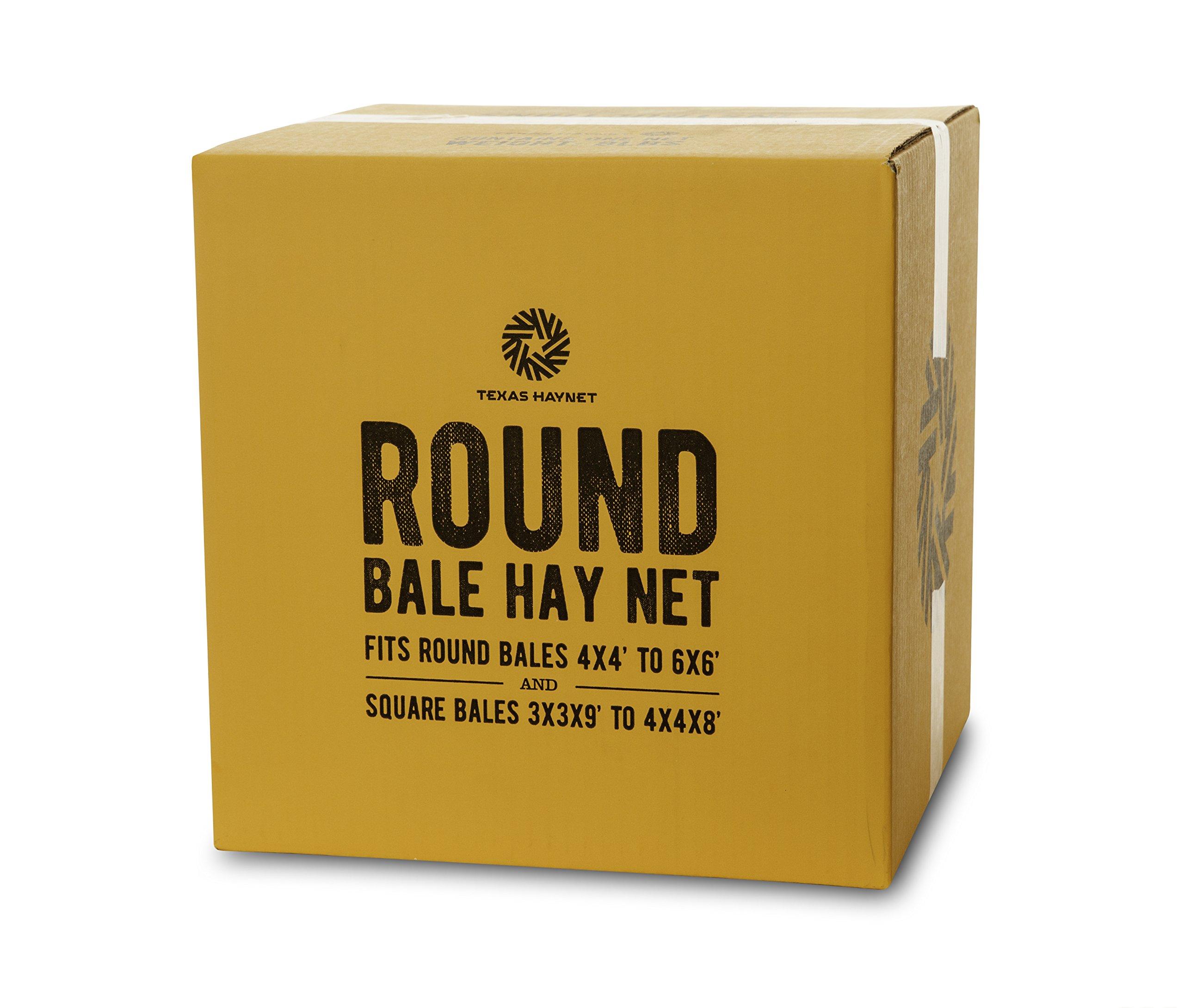 Texas Haynet Round Bale Hay Net Slow Feed Nylon Fits Bales 4x4-6x6 1.75'' Holes Made in America by Texas Haynet