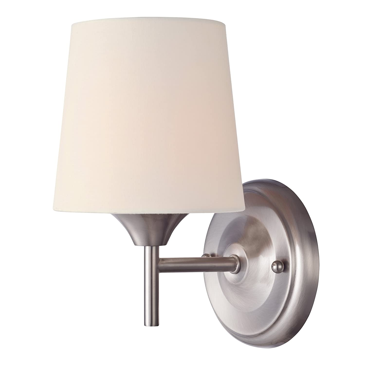 Westinghouse 6226000 Parker Mews One Light Interior Wall Fixture Brushed Nickel Finish With White Linen Fabric Shade Sconces Com